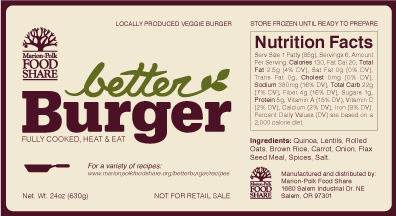 Marion-Polk Food Share's Better Burger packaging label.